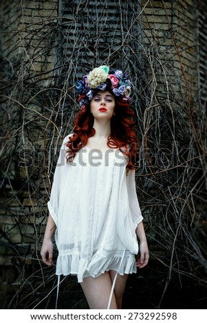 Young redhead girl - stock photo