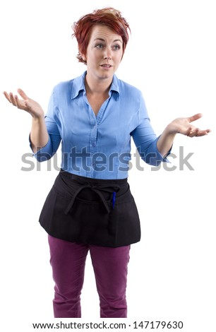 young redhead waitress reacting to stress - stock photo