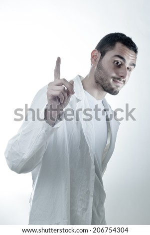 Young researcher wearing a labcoat asking a question - stock photo