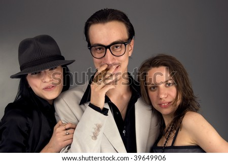 Young retro fashionable people together - stock photo