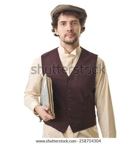 Young Retro Man With Old Book. - stock photo