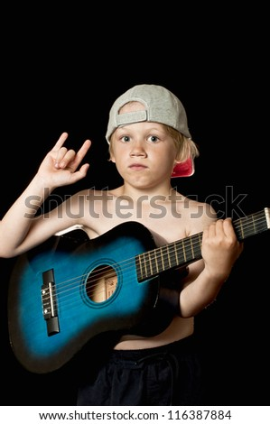 Young rock star with guitar