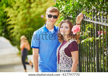 Young romantic couple having a date in San Francisco on a sunny summer day