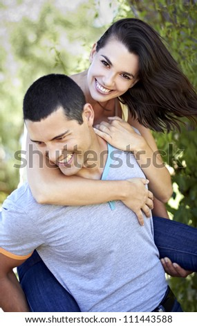 Young romantic couple having fun - stock photo