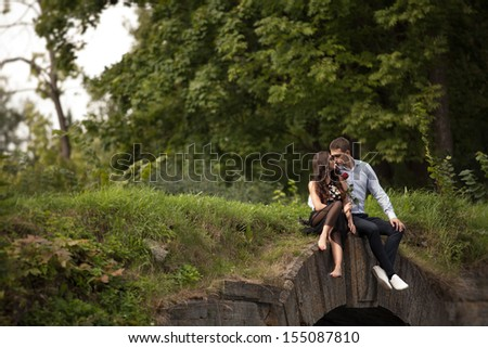 Young romantic couple in love - stock photo