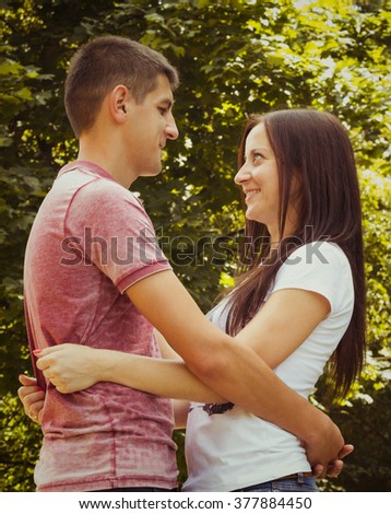 Young romantic couple in park