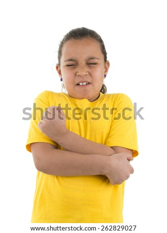 Young Sad Girl with Elbow Pain Isolated on White Background