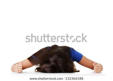 Young sad teen woman, have big problem or depression, over white background - stock photo