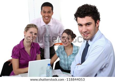 Young sales people having a meeting