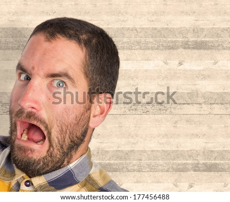 young scared man - stock photo