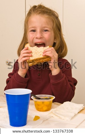 Young school girl eating lunch - stock photo
