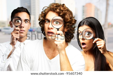 young scientific team at city - stock photo