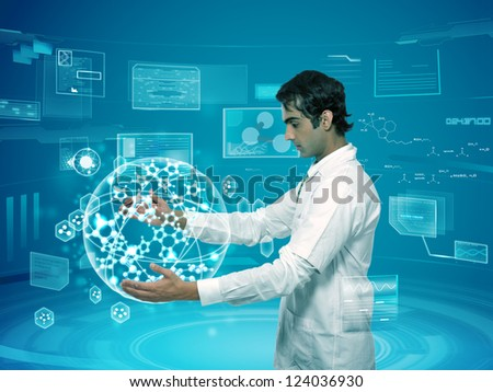 young scientist doctor holding virtual molecular structure in the lab - stock photo