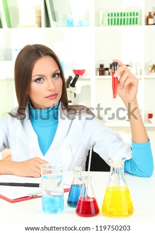 Young scientist in  laboratory