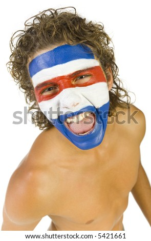 Young screaming and naked Paraguayan sport's fan with painted flag on face. High angle view. Looking at camera, white background - stock photo