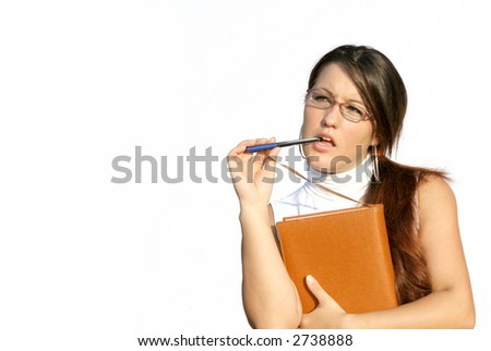 young secretary deep in thought - stock photo