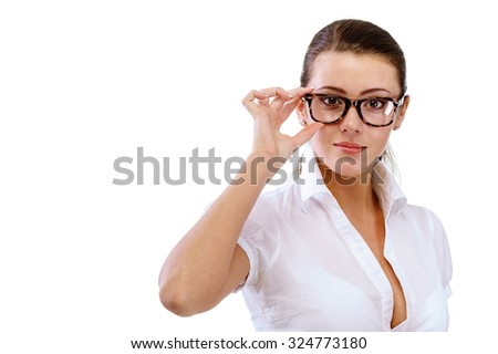 Young secretary-reviewer with documents in hands. - stock photo