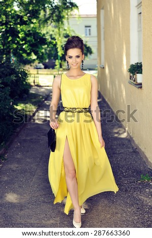 Young sensual & beauty woman in a elegant dress - stock photo