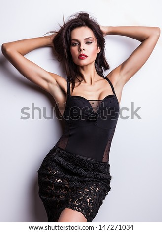 Young sensual & beauty woman in a fashionable dress. - stock photo