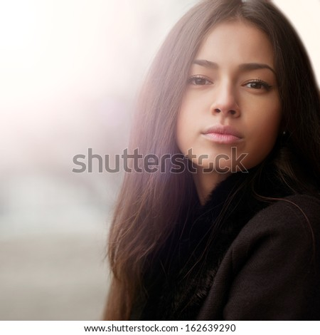 Young sensual brunette girl portrait  - stock photo