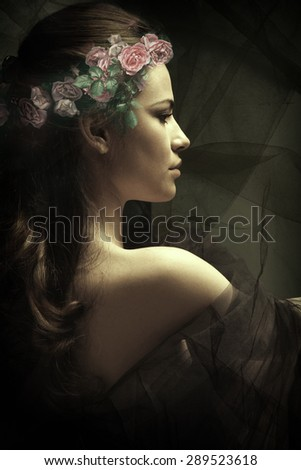 young sensual brunette woman with wreath of roses in hair composite photo, profile - stock photo