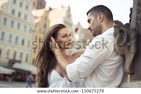 Young sensual couple hugging each other