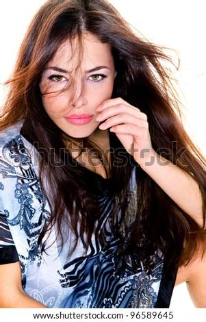 young sensual long hair brunette woman, studio shot - stock photo