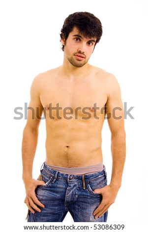 young sensual man on white background