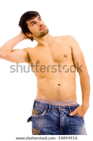 young sensual man on white background - stock photo