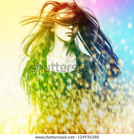 Young sensual model girl. Color face art studio photo. - stock photo