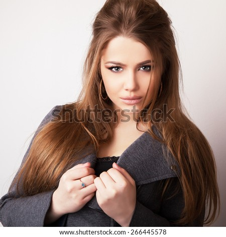 Young sensual model girl pose in studio.  - stock photo