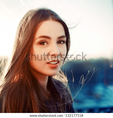 Young sensual pretty happy smiling girl outdoor spring portrait - stock photo