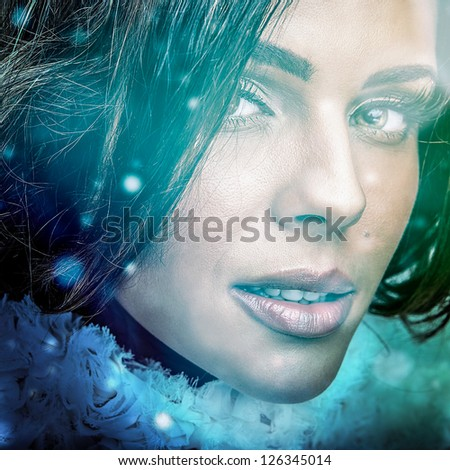 Young sensual romantic beauty woman. Multicolored pop art style photo. - stock photo