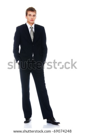 Young serious businessman isolated on white - stock photo