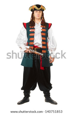 Young serious man wearing pirate costume. Isolated on white