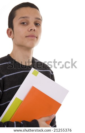 Young serious student with colorful books