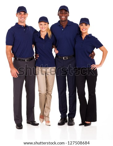 young service team group portrait on white - stock photo
