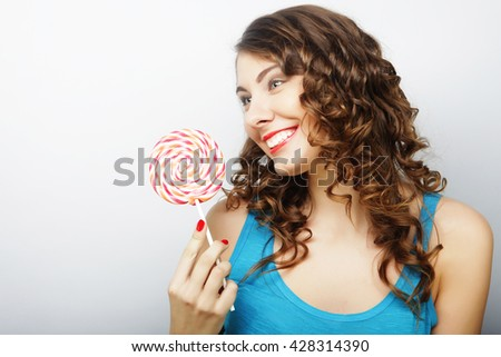 young sexual woman with  lollipop - stock photo