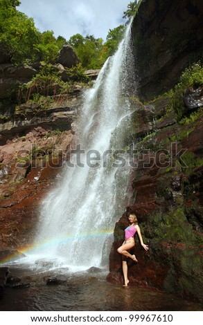 Woman Waterfall Stock Images Royalty Free Images
