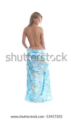 Young sexy blond in sari isolated on white - stock photo