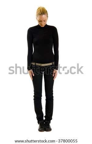 young sexy blond woman in black isolated on white - stock photo