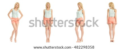 Young sexy blond woman in coral shorts