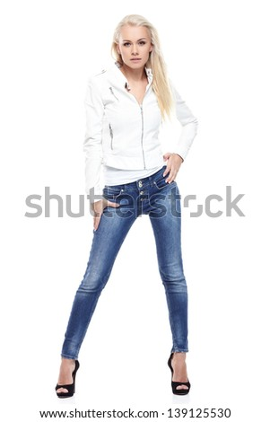 Young sexy blond woman in leather jacket isolated on white - stock photo
