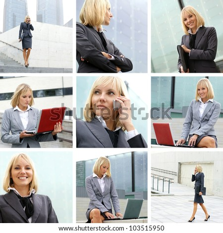 Young sexy business woman collage - stock photo