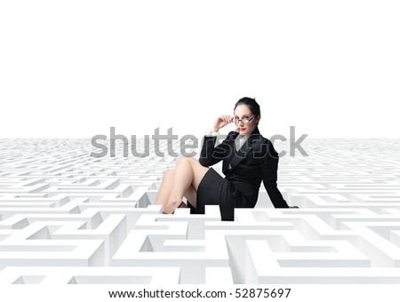 young sexy  businesswoman in 3d  labyrinth