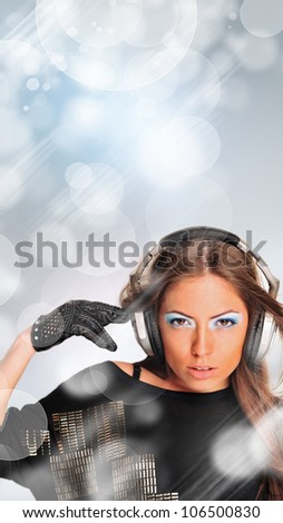 Young sexy girl dancing and listening music. Party advertisement banner template