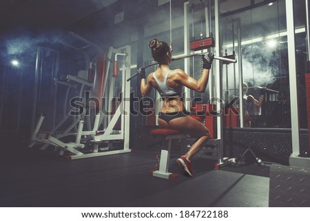Young sexy girl lifts in the gym - stock photo