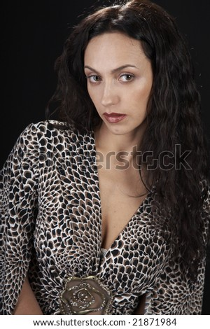 Young sexy girl on black isolated background
