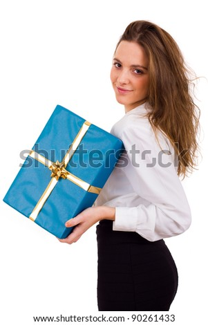 young sexy girl smiles and holding a gift in packing over white background