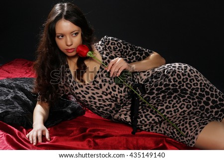 young sexy girl with a rose